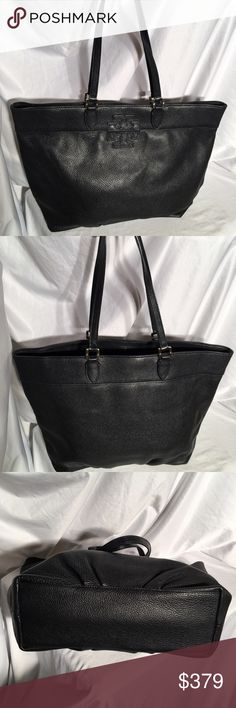 Tory Burch Large Thea tote. Black pebbled leather Tory Burch Thea Large Black pebbled leather with Gold Logo & hardware. This purse appears to be new, i cannot find any markings or impetfections. 18 inches wide X 4 inches deep X 12.5 inches high Tory Burch Bags
