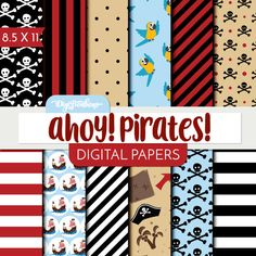 This scrapbook digital paper set features a pirate red, black, and tan color palette and some really cute pirate designs. Also available in SEAMLESS
