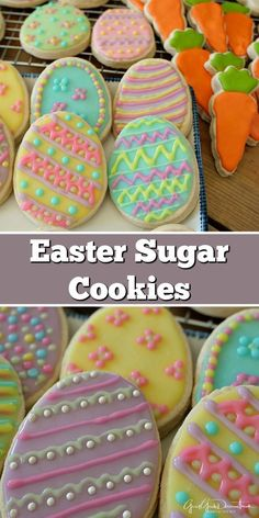 These Easter sugar cookies are so yummy and cute as can be. Decorated with Royal icing, these are perfect for Easter. These Easter sugar cookies are so yummy and cute as can be. Decorated with Royal icing, these are perfect for Easter. Sugar Cookie Royal Icing, Iced Sugar Cookies, Sugar Cookies Recipe, Royal Icing Decorated Cookies, Easter Cookie Recipes, Easter Cookies, Owl Cookies, Easter Desserts, Easter Food