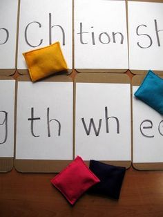 Play Beanbag Letter Blend Toss: Toss the bag, say the sound. You can also say a word that has that sound in it.