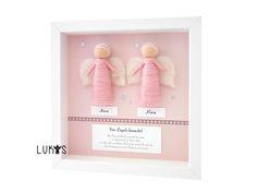 Geschenk Zwillinge Geburt und Taufe, Geschenk für Zwillinge, Geschenkidee für Zwillingsmädchen, Geschenk Taufe Geschwister, Schutzengel Filzengel einfarbig für 2 rosa