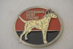 Fireman's Best Friend Dalmatian Fire Dept Dog Vintage Belt Buckle Model 2318