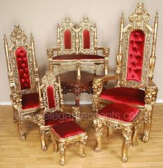 Solid hand-carved mahogany queen throne chairs 64 in tall and you have to send someone to get it Royal Furniture, Gold Furniture, Gothic Furniture, Luxury Furniture, Antique Furniture, Royal Bedroom, Throne Chair, Plastic Adirondack Chairs, Antique Chairs