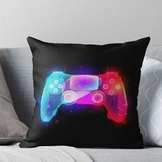 Super soft and durable spun polyester Throw pillow with double-sided print. Cover and filled options. Show off your inner gamer with this awesome colour explosion design. Game Room Decor, Boys Room Decor, Boy Room, Boys Game Room, Game Room Basement, Garage Game Rooms, Playstation, Small Game Rooms, Gamer Bedroom