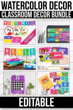 these editable labels and posters for kids and teachers will look great in your bright watercolor themed classroom decor. They will help you add a little something to your lessons for preschool, kindergarten, first grade grade), elementary and middle Classroom Decor Themes, Classroom Setup, Classroom Organization, School Organisation, Classroom Labels, Classroom Tools, Organization Ideas, Back To School Activities, School Resources