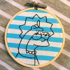 """3"""" Loser Lisa Simpson Embroidery Hoop Art"""