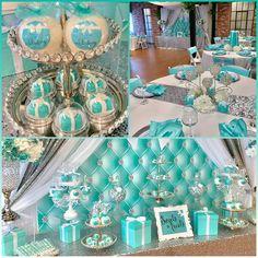 Tiffany & Co. Tiffany Co Party Ideas, Tiffany Blue Party, Tiffany Birthday Party, Tiffany Blue Weddings, Tiffany Theme, Unicorn Themed Birthday Party, Birthday Party Tables, Bridal Shower Tables, Bridal Shower Decorations