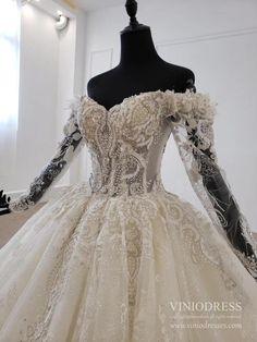 Vintage Long Sleeve Wedding Dresses Modest Beaded Lace Ball Gown VW166 – Viniodress Long Sleeve Wedding, Wedding Dress Sleeves, Modest Wedding Dresses, Lace Dress, Lace Ball Gowns, Gorgeous Dress, Beaded Lace, Vintage Dresses, Vintage Gowns