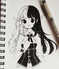 Drew an example of how I want to cut & dye my hair black and white once it grows long again~ In the winter I cut my long hair short just for fun and I kinda still regret it because I like long hair styles better (╯°□°)╯︵ ┻━┻ Anime Drawings Sketches, Anime Sketch, Kawaii Drawings, Manga Drawing, Cute Drawings, Drawing Tips, Kawaii Art, Anime Kawaii, Anime Chibi