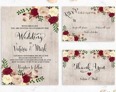 Floral Wedding Invitation Printable or Printed by DigartDesigns
