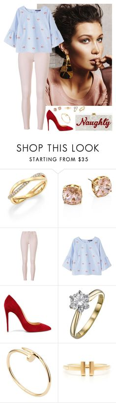 """Untitled #49"" by rafieldshow ❤ liked on Polyvore featuring De Beers, Tory Burch, Violeta by Mango, Christian Louboutin, Cartier, Edie Parker and Tiffany & Co."