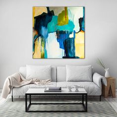 Poster art Large blue painting Large Abstract by SarinaDiakosArt