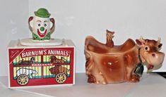 Vintage McCoy Barnum Animals Cookie Jar + McCoy USA Cow w/ Cat Finial cookie jar #McCoy