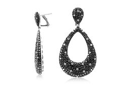 Alson Signature Collection 18K White Gold Black & White Diamond Tear Drop Earrings, Featuring 52 Round White Diamonds =.70cts Total Weight and 484 Round Black Diamonds =6.96cts Total Weight