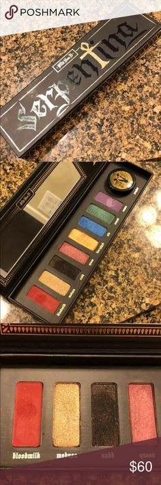 Limited Edition KVD Serpentina Palette Limited Edition Kay Von D Serpentina Eyeshadow Palette used once in pristine condition. Great collectors item shadows are very pigmented. Comes with the Prophet gold loose pigment. Colors left to right: Bloodmilk, Medusa, Ankh, Queen, Hieroglyph, Nile, Scarab, Venom and Gold pigment in the color Prophet. Must have ❤️🎨💋 Kat Von D Makeup Eyeshadow