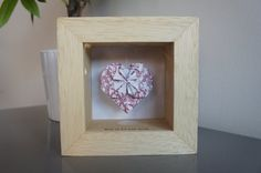 Shadow box framed <3 with suspended Origami 3D heart by APYstudio