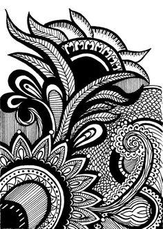 Print of Original Henna Mehndi Pattern Drawing by ViewFromTheEdge, $12.00