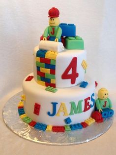 Lego Men Birthday Cake- I know this design has been around for a while but I think it is so adorable! Have even seen wedding cakes like this for true Lego enthusiasts :) Love it!