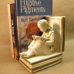Vintage Asian Girl Figure Ceramic Bookend by WestAstheCrowFlies, $6.00