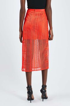 Lace Double Split Midi Skirt