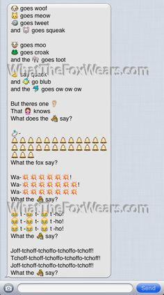 what does the fox say text message (SMS emoji emoticon style)