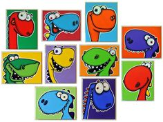 a WaLL fULL oF DiNoS - set of 10 original paintings on multiple canvases for kids room or nursery, dinosaur art, dinosaur paintings Art Wall Kids, Art For Kids, Wall Art, Pop Art, Arte Country, Dinosaur Art, Wall Drawing, Art Lessons Elementary, Art Plastique