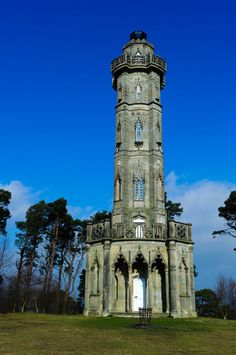 Alnwick, Northumberland - Brizlee Tower. Set atop a hill in Hulne Park, the tower was erected in 1781.  A 26-metre-high elaborately ornamental tower in dressed stone was commissioned in about 1777 to commemorate the Duke's wife Lady Elizabeth Seymour, who died in 1776. Completed in 1781.