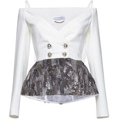Zuhair Murad     Off Shoulder Cady Jacket with Embroidery ($4,545) ❤ liked on Polyvore featuring outerwear, jackets, tops, white, embroidery jackets, beaded jacket, white jacket, peplum jacket and white peplum jacket