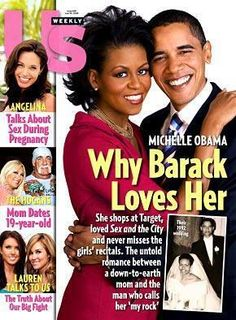 Barack and Michelle Obama on the cover of Us Weekly.