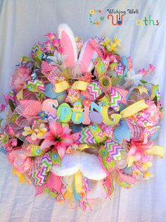 Deco Mesh Bunny Wreath, Easter Bunny wreath, Spring Wreath, Easter Bunny mesh, Spring Wreath, Spring Bunny Wreath, Front Door Decor, wreath