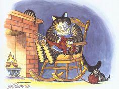 kliban cats   ... Category >> Index >>Humorus Cat Paintings by Kliban - Cat Dreams14