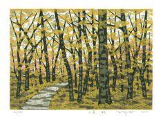 Kitaoka Fumio: A Mountain Path in Autumn - Artelino - Ukiyo-e