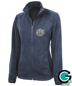 This heathered fleece full zip jacket will keep you warm all winter long! With the full zip design it will be easy to throw on over your cute outfit and customizable with your monogram or Greek monogram!