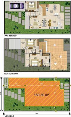 Projetar Casas   Sobrado em linhas modernas, com 1 quarto e 2 suites, varanda goumert e garagem - Cód 42