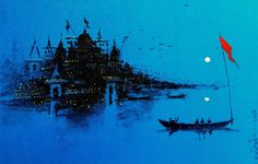 Buy Varanasi Ghat Evening painting online - original museum quality artwork by Girish Chandra Vidyaratna, available at Gallerist. Check price, painting and details online. Scenery Paintings, Indian Art Paintings, Acrylic Painting Canvas, Abstract Canvas, Landscape Art, Landscape Paintings, Cool Art Drawings, Watercolor Art, Watercolor Scenery