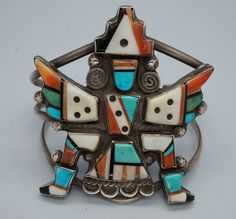 Turquoise  Soul . . .     Early Zuni Mosaic Inlay Knifewing Silver Bracelet
