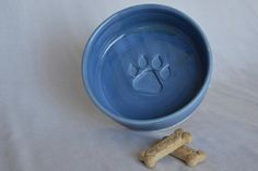 Large dog bowl with Alfred Blue glaze by ThePawteryShop on Etsy, $39.00