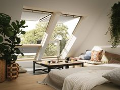 The skylights are great idea for attic rooms or lofts. We prepare a huge collection of design examples of roof windows for all rooms in home. You may use this photos for inspiration if you need to repair leaking roof or just want to remodel a house. Attic Master Bedroom, Attic Bedroom Designs, Living Room Designs, Attic Bedrooms, Living Rooms, Loft Design, House Design, Attic Remodel, Easy Home Decor