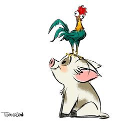 """HeiHei, the world's dumbest chicken, and Pua, Moana's loyal """"puppy"""" pig"""