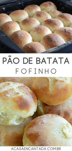 Pão de Batata Recheado - Receita super simples de pão de batata fofinho com requeijão cremoso (catupiry) de recheio. Pãozinho caseiro delicioso, perfeito para congelar e esquentar antes para o café da manhã. O melhor pão de batata da vida! Você vai adorar! Para aprender como fazer, acesse o post do blog! #paodebatata #pao #receita #paocaseiro #batata #acasaencantada | a Casa Encantada Sourdough Recipes, Bread Recipes, Cooking Recipes, Soft Bread Recipe, Good Food, Yummy Food, Creative Food, Other Recipes, Bread Baking