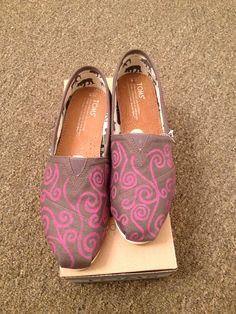 Custom Painted Toms-  'Swirls'. $85.00, via Etsy.