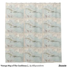 Vintage Map of The Caribbean (1886) Shower Curtain
