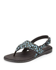 Donald J Pliner leopardprint dyed calf hair China sandal. Covered vamp with thong strap.Buckled halter slingback.Leather lining and cushioned footbed.Textured rubber sole for traction.12 flat rubber heel.Gal is imported. #Fashion  #NeimanMarcus