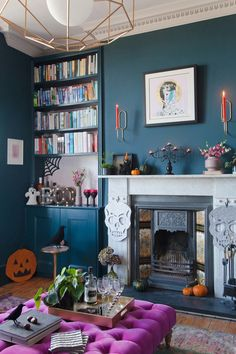 Styling an adults-only Halloween party with Sainsbury's Home Halloween-Getränkeparty im Wohnzimmer des Pink House, Wände in Farrow & Ball Hague Blue Farrow And Ball Living Room, Teal Living Rooms, Living Room Green, Blue Rooms, New Living Room, Living Room Designs, Living Room Decor, Small Living, Dining Room