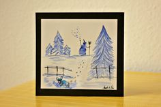 French bulldog painting with winter motive handmade by BoubouleArt