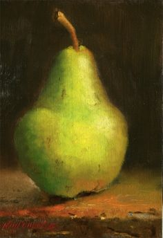 California Bartlett Pear on Table, painting by artist Hall Groat II