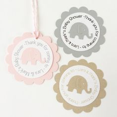 These Elephant Tags are the perfect way to thank your guests for attending your baby shower or special event.  Select your quantity & choose your color choice during check out. The scalloped Round tags measure (2-3/8).  ** More color choices in STAR picture  Tags backs & elephants can be made in the color of your choice to coordinate with your party. Please convo me before purchase to firm up font color (black, tan or grey) font & tag personalization. Coordinating bakers twin...