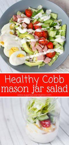 Prep once and enjoy fresh cobb salads all week long with this fun mason jar salad recipe. We're also making homemade cobb salad dressing!