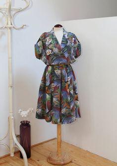 Vintage 80s Abstract Floral Printed Dress por Laimperdible en Etsy