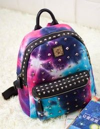 Multi Color Studded PU Leather Women's Backpack